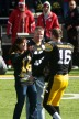 James Vandenberg is greeted by his mom and dad during Senior Day at Kinnick in 2012.